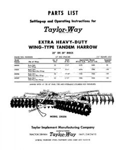 Taylor-Way Parts Manual