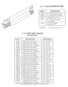 Taylor-Way Axle Parts Chart